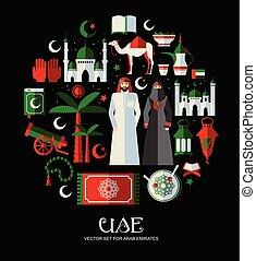 Un grupo de iconos musulmanes de Arabia. Diseño plano.