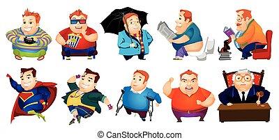 Un grupo de ilustraciones alegres de gordos.