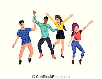 Un grupo de jóvenes felices saltando