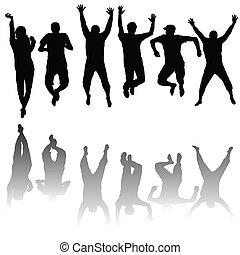 Un grupo de jóvenes siluetas saltando