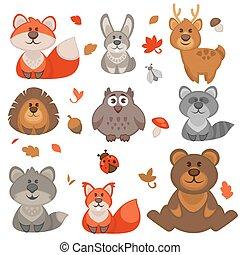 Un grupo de lindos animales de bosque de dibujos animados.