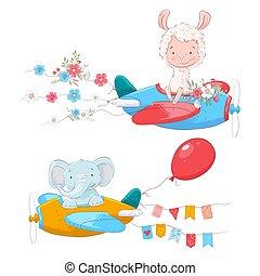 Un grupo de lindos animales de dibujos animados Lama y un elefante en un avión con flores y banderas para ilustraciones infantiles.