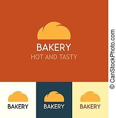 Un grupo de Logotipos para Bakery en diferentes orígenes, Emblem con Bun aislado en el origen naranja, blanco y oscuro