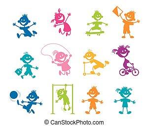 Un grupo de niños de dibujos animados