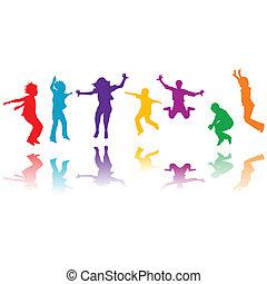Un grupo de niños dibujados saltando