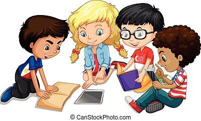 Un grupo de niños haciendo los deberes