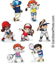 Un grupo de personas participando en diferentes deportes