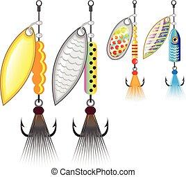 Un grupo de pescadores de Spinners atrae al vector de ilustración de la imagen de clip-art
