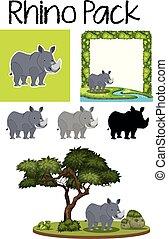 Un grupo de rinocerontes lindos