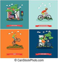 Un grupo de tipos de bicicletas con carteles de concepto en estilo plano