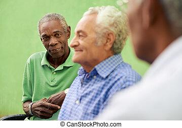 Un grupo de viejos hombres negros y caucásicos hablando en el parque
