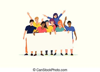 Un grupo feliz y emocionado de personas con una señal en blanco