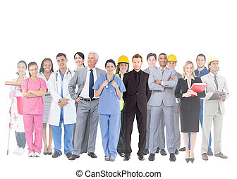 Un grupo sonriente de gente con diferentes trabajos