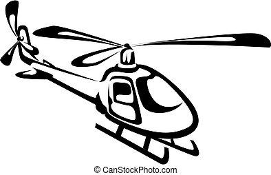 Un helicóptero volador