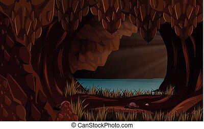 Un hermoso paisaje de cuevas
