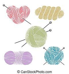 Un hilo dibujado a mano para tejer
