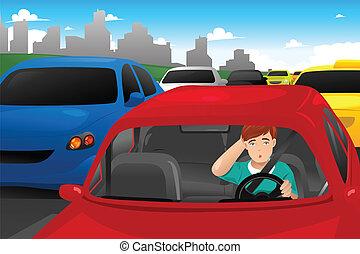 Un hombre atrapado en el tráfico
