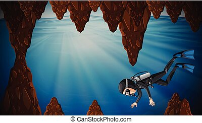 Un hombre buceando en la cueva del agua