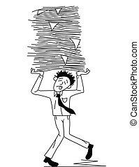 Un hombre cansado con trabajo de papel