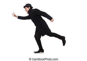 Un hombre con abrigo negro aislado en blanco