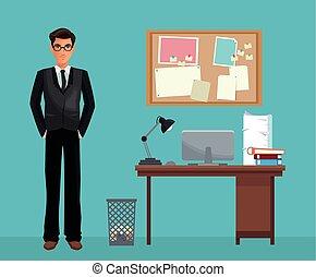 Un hombre con gafas de oficina de trabajo de escritorio espacial