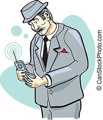 Un hombre con un clip de teléfonos celulares