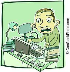 Un hombre con un escritorio desordenado