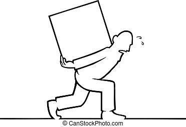 Un hombre con una caja pesada en la espalda