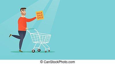 Un hombre corriendo a toda prisa a la tienda a la venta.