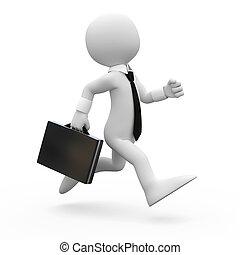 Un hombre corriendo con un maletín