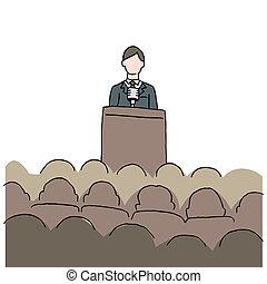Un hombre dando discursos públicos