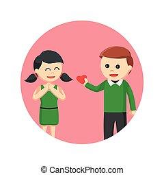Un hombre dando su amor a una chica en círculos