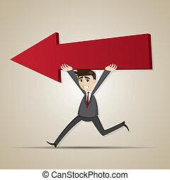 Un hombre de negocios caricaturero llevaba una flecha roja