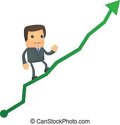 Un hombre de negocios cartoonal trepando al diagrama