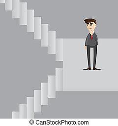 Un hombre de negocios con escaleras arriba y abajo
