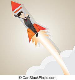 Un hombre de negocios con un cohete
