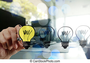 Un hombre de negocios dibujando estrategia de negocios creativa con luz B