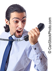 Un hombre de negocios enfadado al teléfono