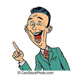 Un hombre de negocios entusiasta señala un gesto con el dedo