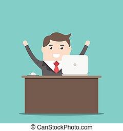 Un hombre de negocios feliz en el escritorio