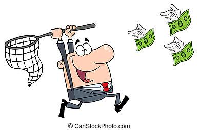 Un hombre de negocios feliz persiguiendo dinero