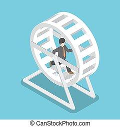 Un hombre de negocios isométrico con un traje en una rueda de hámster