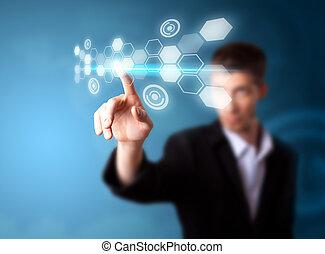 Un hombre de negocios que trabaja en tecnología moderna