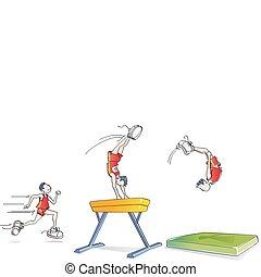 Un hombre divertido haciendo gimnasia