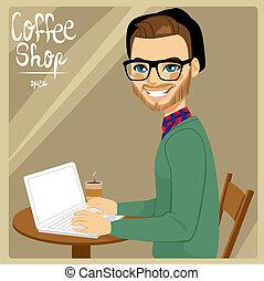 Un hombre en la cafetería
