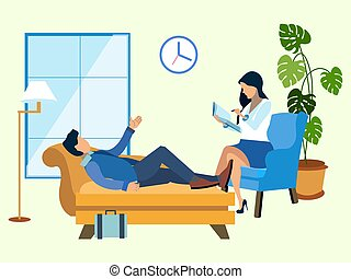Un hombre en una recepción en el psicólogo. Al estilo minimalista. Vector isométrico plano