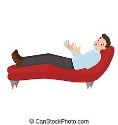 Un hombre en una recepción en el psicólogo. El hombre está acostado en el sofá. Habla con un psicólogo. Gráficos de vectores aislados en el fondo blanco.