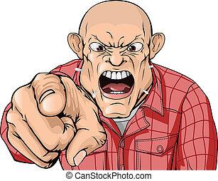 Un hombre enojado con la cabeza afeitada gritando y señalando