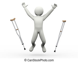 Un hombre feliz que lanza muletas