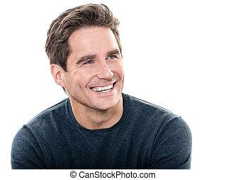 Un hombre guapo y guapo con una sonrisa de dientes